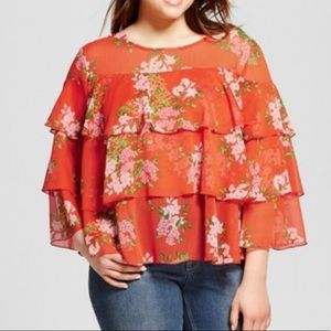 WHO WHAT WEAR FLORAL LAYERED RUFFLE BLOUSE TOP